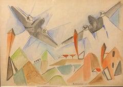 """Airplanes in flight"" Flight, Italian Futurism, aereopittura, aircraft, 1935,"