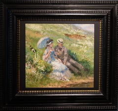 """Rest near the river"" Man,  woman ,dog ,19th,impressionism 1860 oil cm. 30 x 28"