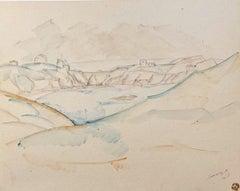 """""""Landscape"""" watercolor cm. 30 x 22 1910"""