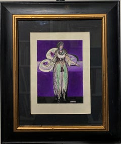 """Odalisque"" Arabic, Women, Harem, 1920, Watercolor Purple, Black cm.13 x 18"