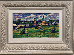 """Village""Russia, impressionism, countryside oil cm 40x 21  1982"