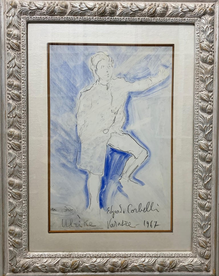 "Edgardo Corbelli Figurative Art - ""Young boy in blue"" Ulrike , Boy,Blue,watercolor, cm. 31 x 48 1967"