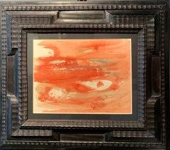 """ Orange abstract composition"" Oil on paper cm. 26 x 20 Dora Maar g"