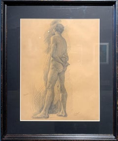 """Male Nude"" pencil on paper cm. 31 x 42 1890ca"
