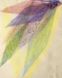 """""""abstract composition""""lines, colors Tempera on paper cm. 52,2 x 42,4 1983"""