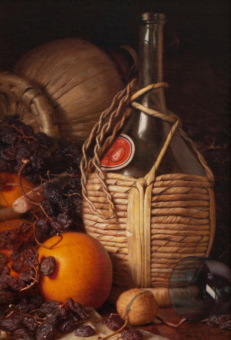 Lemuel E. Wilmarth Still-Life Painting - Wine Bottles, Walnut, Oranges and Raisins