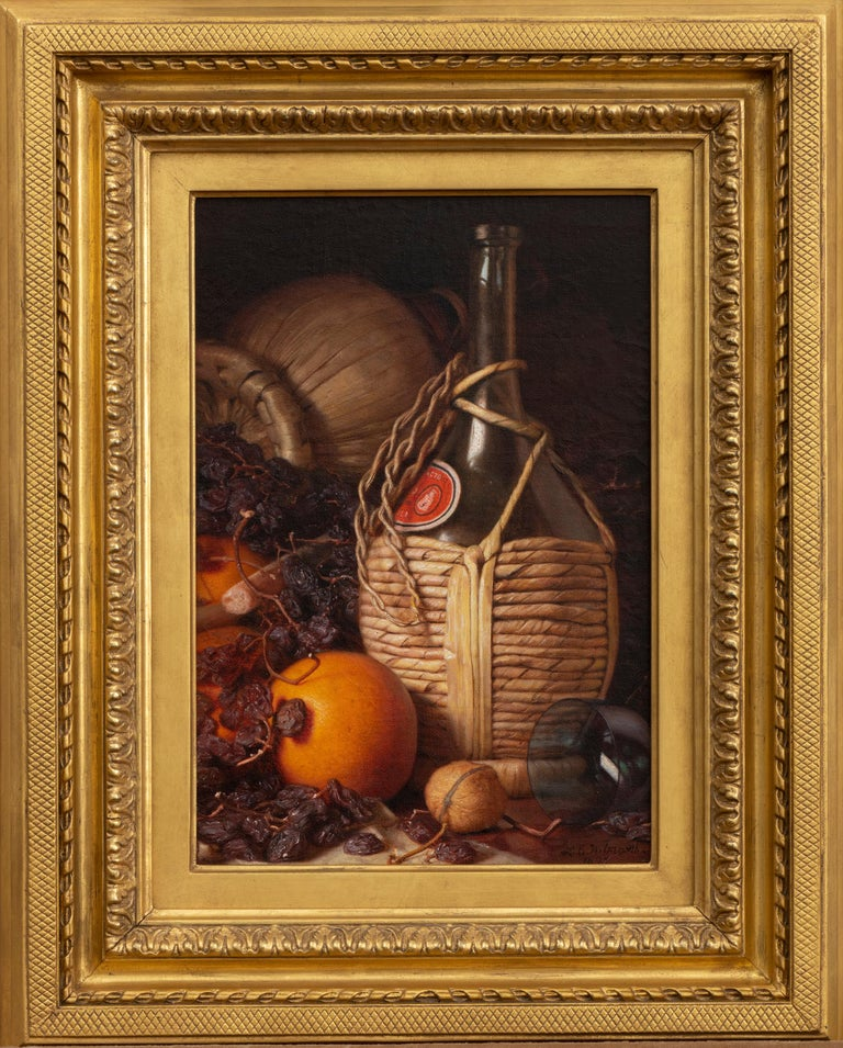 Wine Bottles, Walnut, Oranges and Raisins - Painting by Lemuel E. Wilmarth