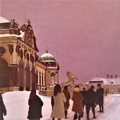 Austria - Plum Mauve Pink Acrylic Painting Photorealism Polaroid