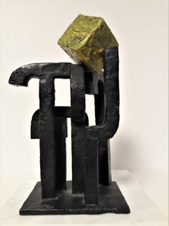 Cubist Form Bronze and Green Cube Abstract Sculpture