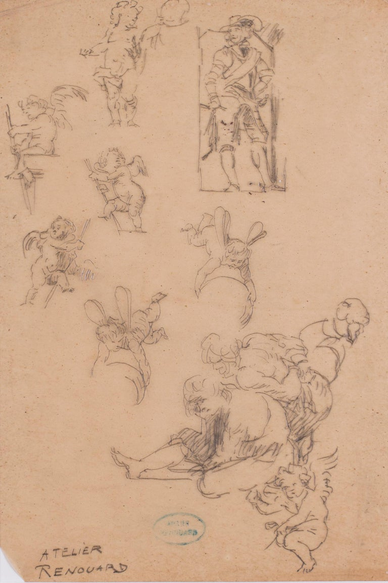 A study of desporting cherubs and a cavalier - Art by Charles Paul Renouard