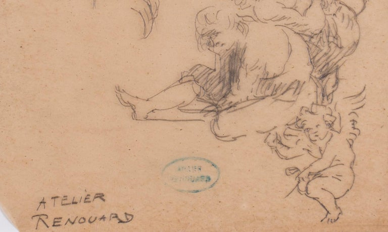 A study of desporting cherubs and a cavalier - Beige Figurative Art by Charles Paul Renouard