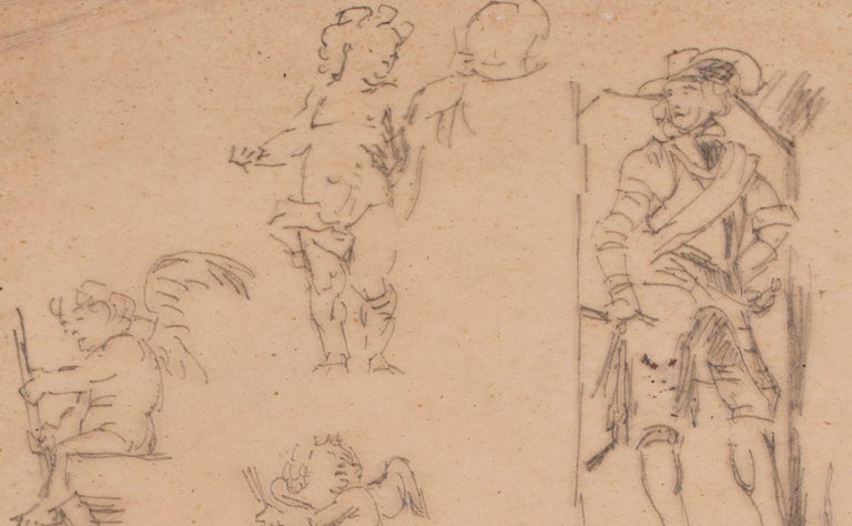 Charles Paul Renouard (French, 1845 – 1921) A study of desporting cherubs and a cavalier Pencil on tracing paper Signed with an atelier stamp (lower edge) 9.1/2 x 6.1/2 in. (24 x 16.5 cm.)