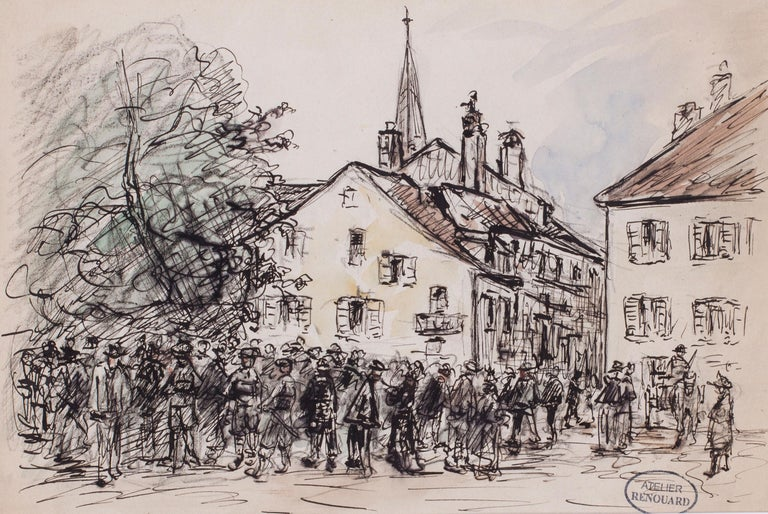 Charles Paul Renouard Figurative Art - A gathering in a market town