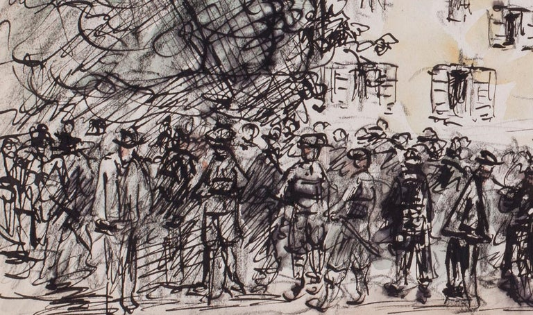 A gathering in a market town - Art by Charles Paul Renouard