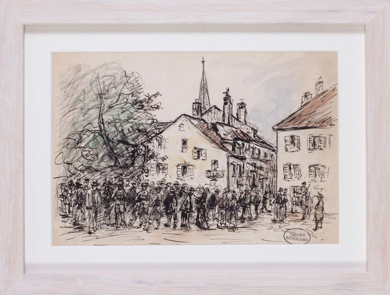 A gathering in a market town - Gray Figurative Art by Charles Paul Renouard