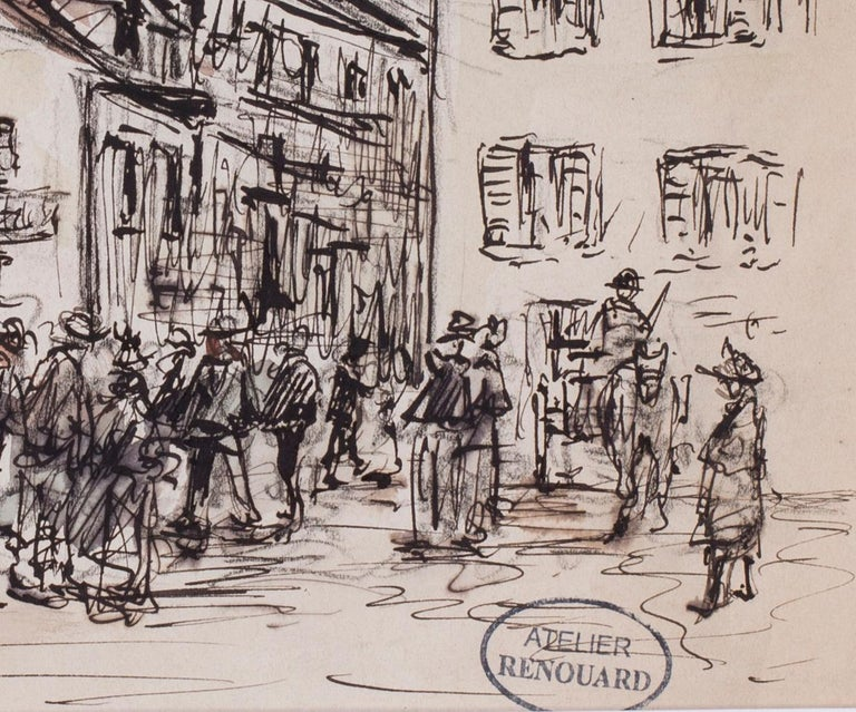 Charles Paul Renouard (French, 1845 – 1921) A gathering in a market town Ink and watercolour on paper 6.1/2 x 9.5/8in. (16 x 24.5cm.) Signed with an atelier stamp (lower right)