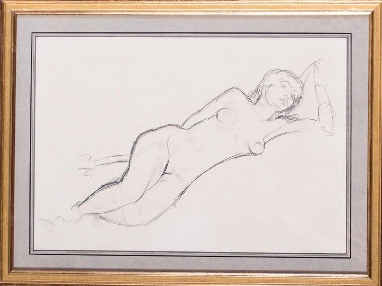 Reclining nude, 1940s - Beige Nude by Edward Wolfe