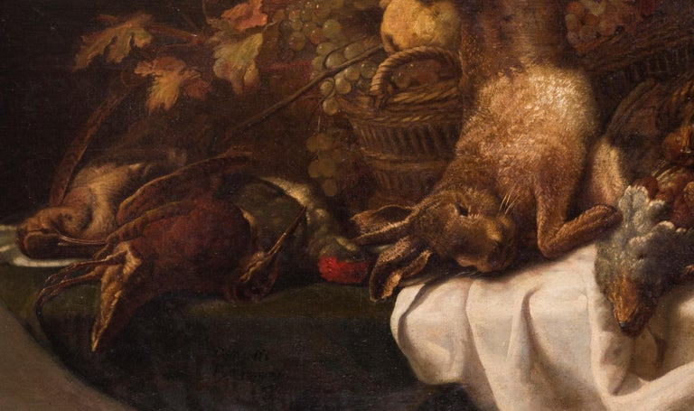 In the pantry, a really well painted large still life of game and fruit - Old Masters Painting by Eugene Cottin