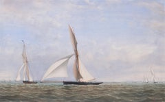 19th Century British original watercolour Cutter Yachts of the Royal Thames Club