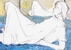 Reclining figure before mirror