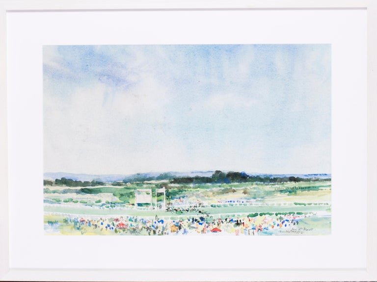 Charles Mozley (British, b. 1948) At the finishing post, Ascot Racecourse Watercolour on paper Signed, inscribed and dated 'June 20th Ascot / Charles Mozley' (lower right) 15.3/4 x 23.3/4 in. (40 x 60.5 cm.)   The artist has conveyed the bright