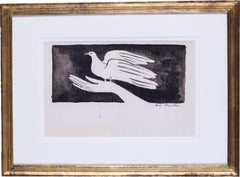 20th C French expressionist ink drawing of a dove in the hand by  Brasilier