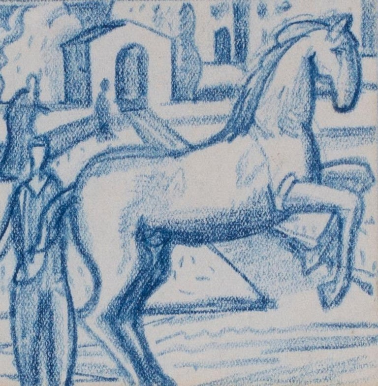 A set of six blue crayon vignettes possibly designs for later illustrations  - Art by Walpole Champneys