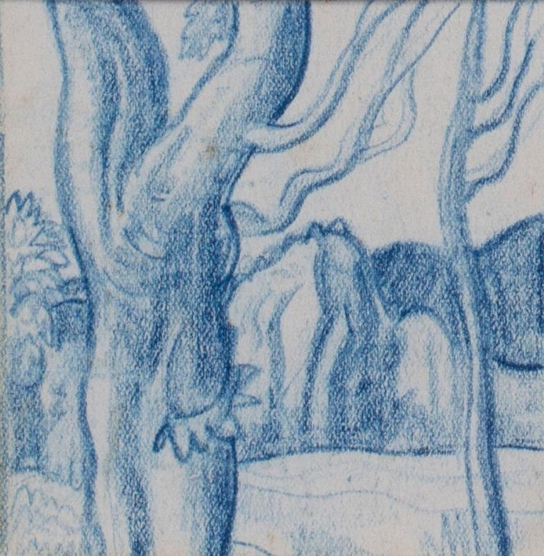 A set of six blue crayon vignettes possibly designs for later illustrations  - Gray Figurative Art by Walpole Champneys