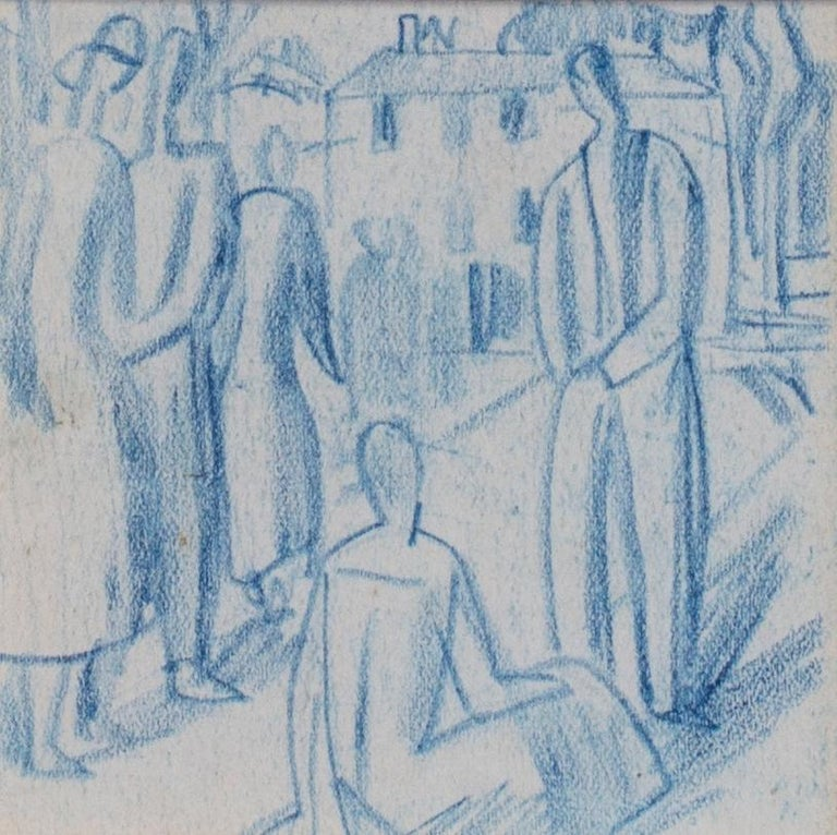 Walpole Champneys (British, 1879 – 1961) A set of six blue crayon vignettes possibly designs for later illustrations / paintings Blue crayon on paper 11.1/4 x 15 in. (28.5 x 38.2 cm.) (including frame)