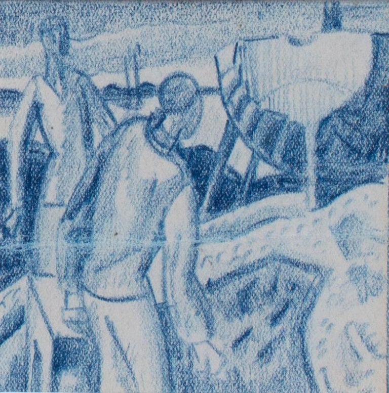 A set of six blue crayon vignettes possibly designs for later illustrations  1