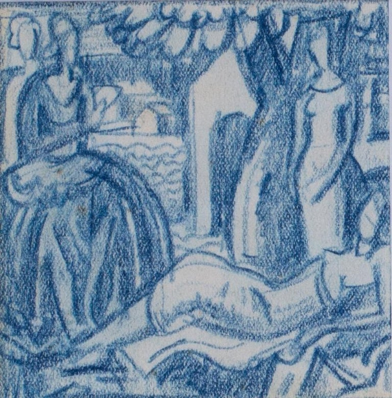 A set of six blue crayon vignettes possibly designs for later illustrations  2