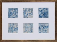 A set of six blue crayon vignettes possibly designs for later illustrations