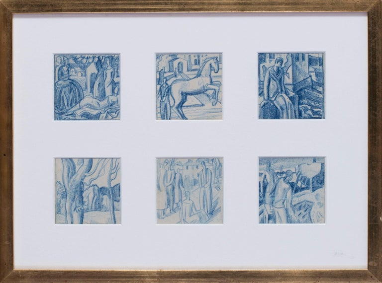 Walpole Champneys Figurative Art - A set of six blue crayon vignettes possibly designs for later illustrations