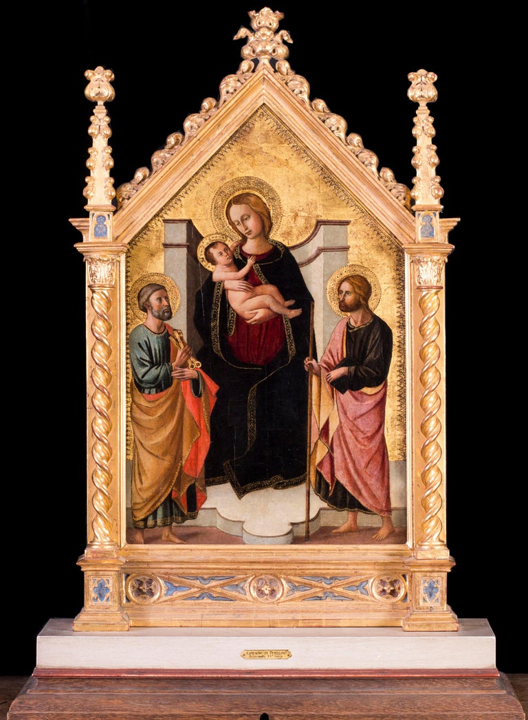 Domenico De Michelino (Florence, 1417-1491) The Madonna and child with St. Peter and John the Baptist Oil on panel, in a carved and gilded tabernacle frame (19th century) 21.3/4 x 14 in. (55.3 x 35.7 cm.)  Provenance: Christie's London, Old Masters