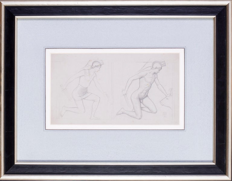 Joseph Edward Southall, R. W. S. (British, 1861-1944) Study for 'Theseus and the Minotaur' Pencil on paper Signed with monogram and dated '3.VII./1902' 6.1/2 x 11.3/4 in. (16.1/2 x 30 cm.)