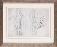 Studies of a statue and a sketch of a lady in ink