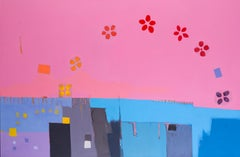 A very large and bright contemporary abstract painting, strong pinks and blues