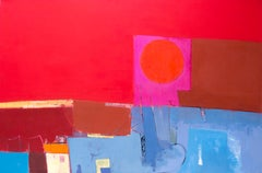 A very large contemporary abstract landscape painting with strong reds and pinks