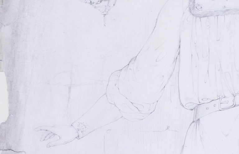 Pre-Raphaelite, early 19th Century drawing by the British artist Lord Leighton For Sale 2