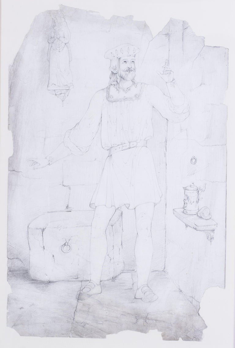 Pre-Raphaelite, early 19th Century drawing by the British artist Lord Leighton For Sale 5