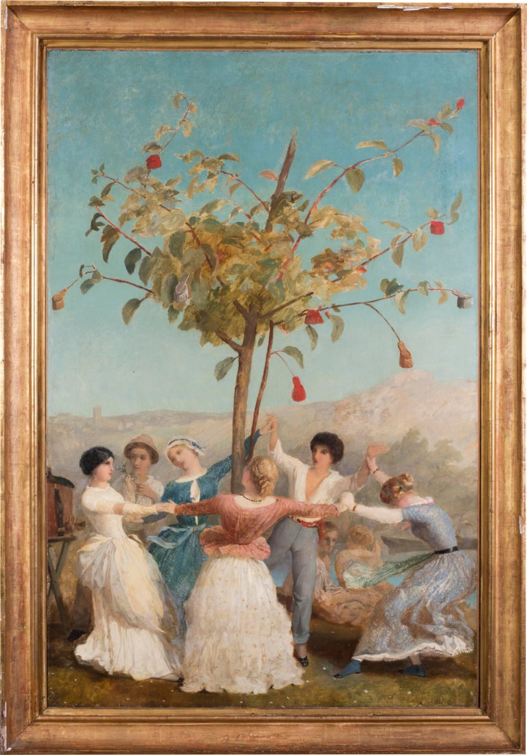 Spanish School 19th Century Figurative Painting - A large and vibrant Spanish oil painting of people dancing under blue skies
