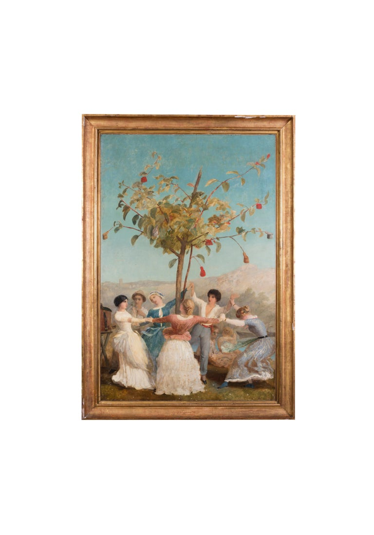 A large and vibrant Spanish oil painting of people dancing under blue skies For Sale 3