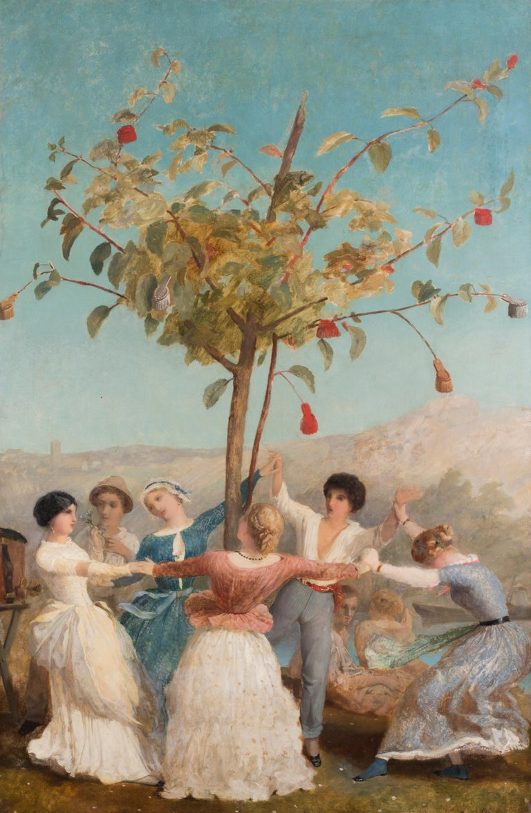 A large and vibrant Spanish oil painting of people dancing under blue skies - Impressionist Painting by Spanish School 19th Century