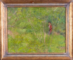 A British Impressionist painting of a lady in red walking through a green garden