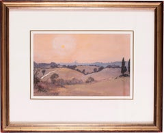 A watercolour of sunset in Sienna, Italy by British artist John Doyle circa 1986