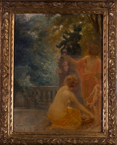 A French 19th Century oil painting of maidens offering flowers to Cupid