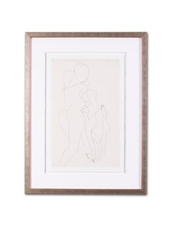 A 20th Century abstract drawing of female nudes by Indian artist F. N. Souza
