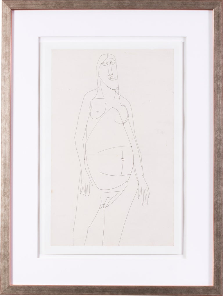 FRANCIS NEWTON SOUZA Nude - A 20th Century abstract drawing of a nude by Indian artist F. N. Souza