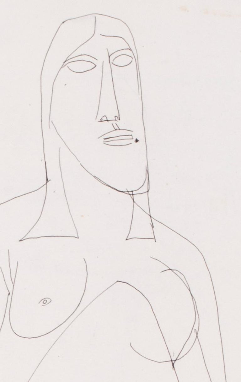 A 20th Century abstract drawing of a nude by Indian artist F. N. Souza - Abstract Expressionist Art by FRANCIS NEWTON SOUZA