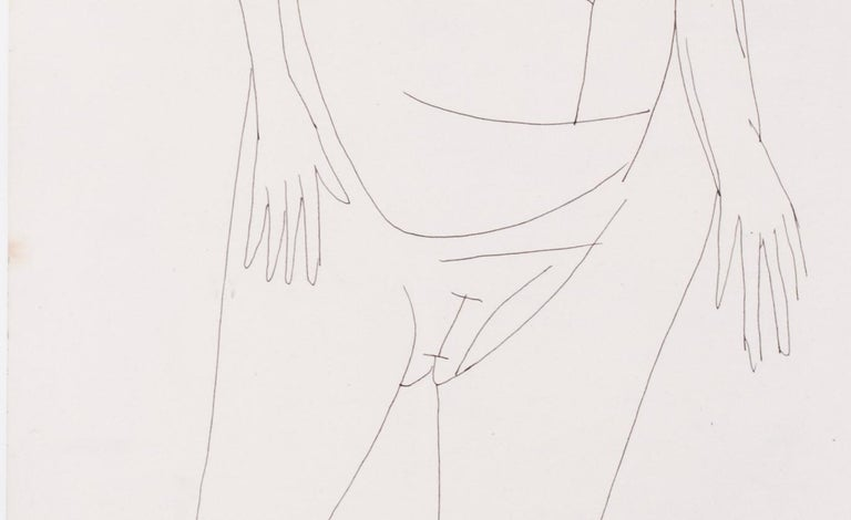 A 20th Century abstract drawing of a nude by Indian artist F. N. Souza - Gray Nude by FRANCIS NEWTON SOUZA